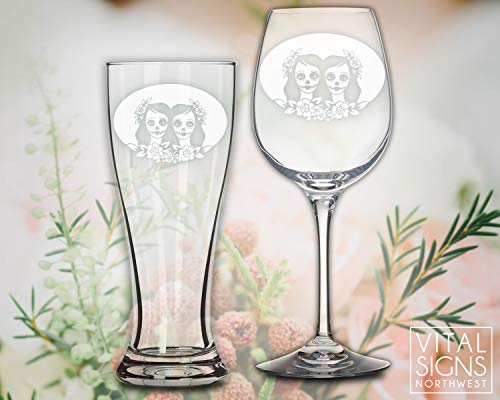 Same Sex Wedding, Lesbian wedding, Toasting glasses, Beer glasses, beer ceremony, Same Sex wedding, Mrs and Mrs, Sugar skull, off beat bride, Dia de los muertos, Skull wedding, Toasting glasses