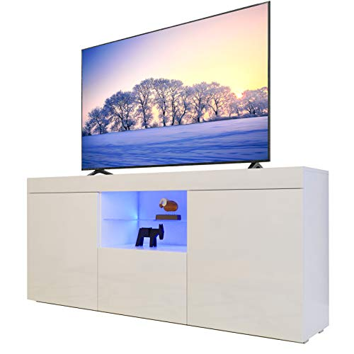 Dripex TV Board Lowboard Fernsehtisch mit LED Beleuchtung Weiß Hochglanz mit Türen und Klappe, 135x70x33.5 cm
