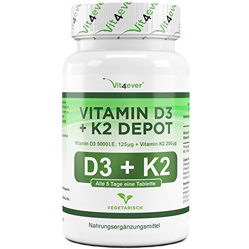 Vitamin D3 + K2 Depot - 365 Tabletten mit 5000 I.E + Vitamin K2 200 mcg pro EINER Tablette - 99,7+% All-Trans (K2VITAL® von Kappa) - Laborgeprüft - Hochdosiert - Premium Qualität