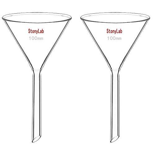 StonyLab 2 Stück Glastrichter Labor Borosilikatglas Trichter, Glass Funnel Kurzer Stiel 100mm Durchmesser, 100mm Stiellänge, Borosilicate Labortrichter