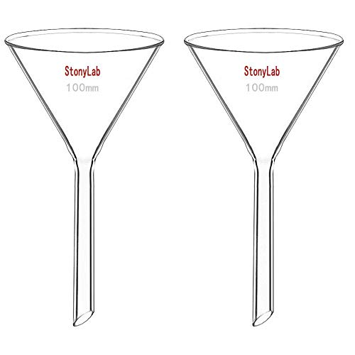 StonyLab 2-Pack Glass Heavy Wall Funnel Borosilicate Glass Funnel, 100mm Diameter, 100mm Stem Length