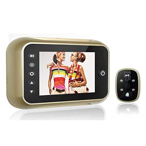 3.5 Pulgadas Video de la Cámara de Gran Angular, Timbre Monitorización Inteligente, Cámara de Alta Definición Mirilla Electrónica,dorado,Mirilla