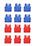 Figure Out Sports Scrimmage Team Practice Nylon Mesh Vests Pinnies Jerseys Adult Soccer, Volleyball, Basketball, Football (12 Jerseys)