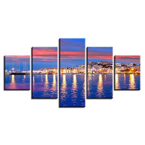CNCN Lienzo Arte de la Pared Pinturas decoración del hogar Modular 5 Piezas Hermosa Isla de Ibiza Eivissa Noche mar Vista Fotos HD Impresiones Cartel 30x40 30x6030x80cm