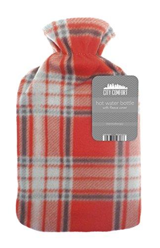 Bolsa para agua caliente, 2 L, goma natural, ideal para mantener el agua caliente, con forro polar, diseño impreso