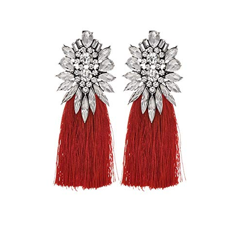 Pendientes de flor de cristal grande hecho a mano vintage étnico bohemio rhinestone largo borla gotas colgantes pendientes para mujer joyería-blanco rojo