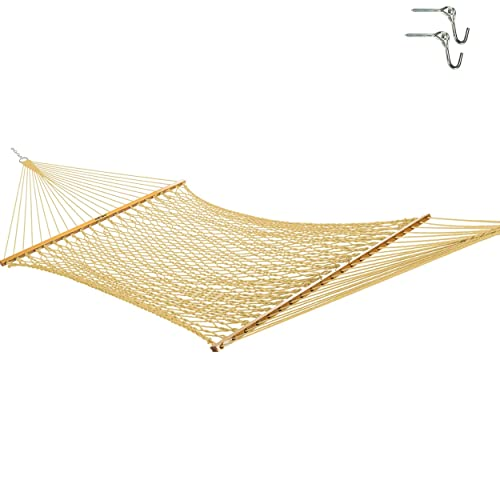 Original Pawleys Island 13DCTAN Large Tan DuracordRope Hammock with Free Extension Chains & Tree...