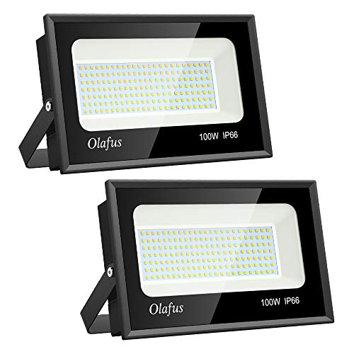 Olafus 2 Pack 100W LED Flood Light Outdoor, Bright Outside Floodlights, IP66 Waterproof Exterior Security Lights, 5000K Daylight White Super Bright Lighting for Playground Yard Stadium Lawn Ball Park