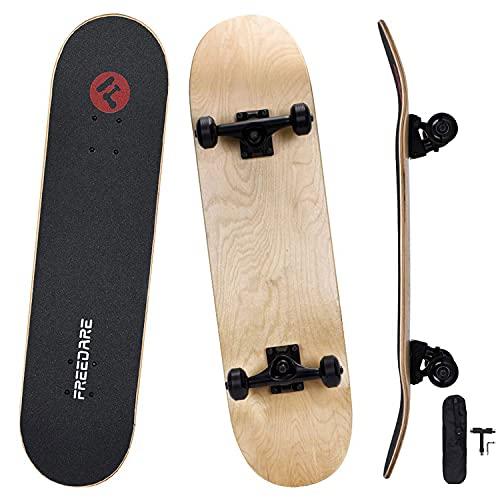 FREEDARE Standard Complete Skateboards 8.0, Skateboard for Kids and Beginners, Blank Skateboard Deck...