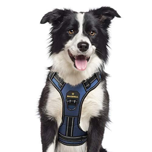 Hundegeschirr für Kleine Hunde, Anti Zug Hunde Geschirr Verstellbar Reflektierend Sicherheitsgeschirre Weich Gepolstert Atmungsaktiv Brustgeschirre Nylon für Große Mittlere und Kleine Hunde(Blau, S)