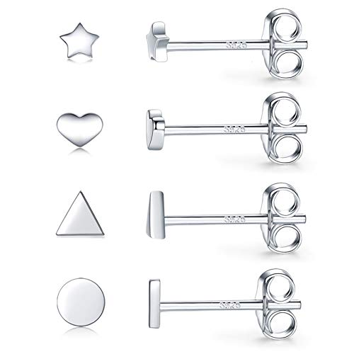 Silver Stud Earrings Womens 4 Pairs S925 Sterling Silver Hypoallergenic Simple Geometric Small Stud Earring Set Tiny Circle Triangle Heart Star Earrings for Men Girls
