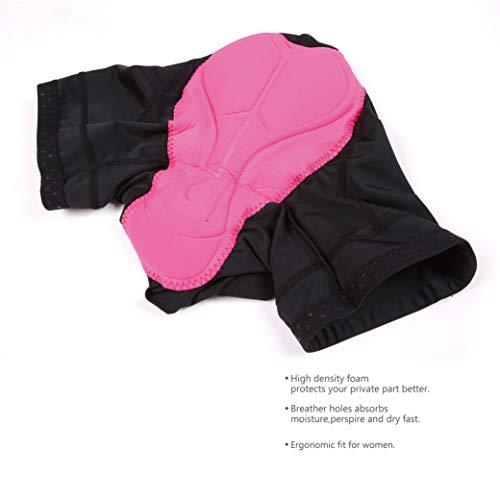 Nooyme Radlerhose Damen gepolstert schnelltrockende Radlerhose Damen Kurz elastische Radlerhose Damen mit Sitzpolster 3D Radhose Damen mit breiterem und dichterem Polster - 5