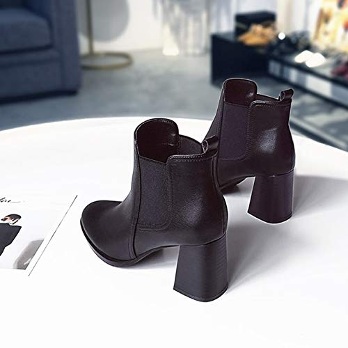 Shukun laarzen voor dames, lente en herfst, eenvoudige laarzen, wilde boots, zwart, hoge hakken, met korte laarzen