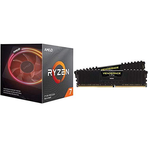 AMD Ryzen 7 3700X 8-Core, 16-Thread Unlocked Desktop Processor with Wraith Prism LED Cooler Bundle with Corsair Vengeance LPX 16GB (2x8GB) DDR4 DRAM 3200MHz C16 Desktop Memory Kit - Black