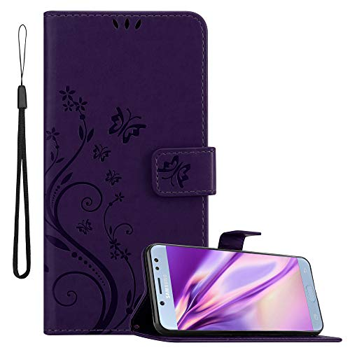 Cadorabo Funda Libro para Samsung Galaxy J5 2017 en Lila Oscuro Floral – Cubierta Proteccíon en Diseño de Flor con Cierre Magnético, Función de Suporte e 3 Tarjeteros - Etui Case Cover Carcasa