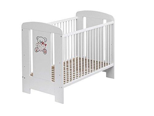 Best For Kids Gitterbett in 3 Farben mit oder ohne 10 cm Matratze aus Schaumstoff TÜV Zertifiziert Geprüft, Kinderbett Babybett weiß 4 Teile (Weiß mit Matratze)