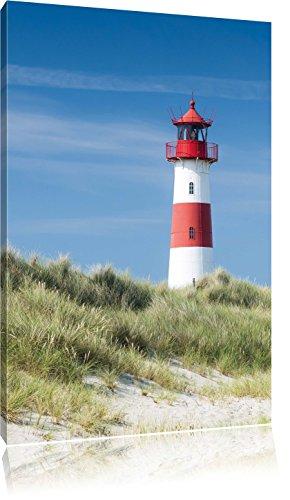 Leuchtturm hinter Dünen , Format: 60x80 auf hochkantiges Leinwand, XXL riesige Bilder fertig gerahmt mit Keilrahmen, Kunstdruck auf Wandbild mit Rahmen, günstiger als Gemälde oder Ölbild, kein Poster oder Plakat