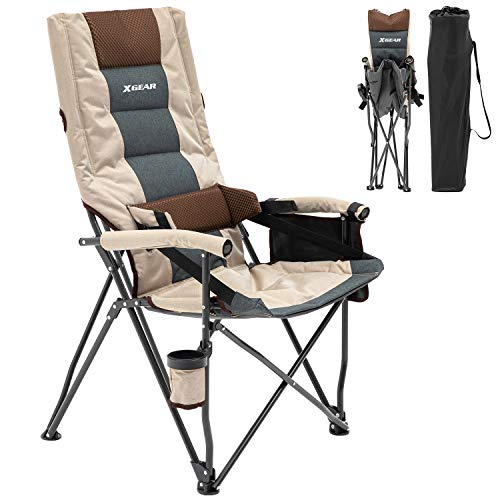 XGEAR Leisure Folding Camping Chair With Adjustable Lumbar Support High Back Design For Superior...