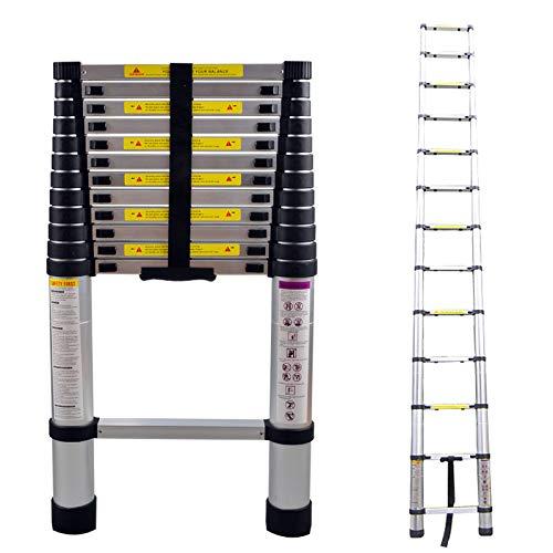 Froadp 380cm Escalera Telescópica Multifuncional Extensible de Aluminio Capacidad de 150kg para Casa Desván y Oficina