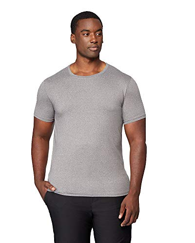 32 DEGREES Mens Cool Solid Crew Neck Tee Shirt, Grey Heather, Size XLarge