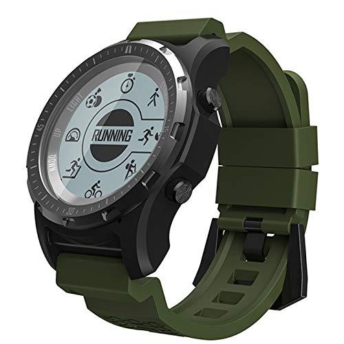 Relógio inteligente para homens, rastreador de atividades GPS com monitor de frequência cardíaca/pedômetro/bússola, relógio esportivo masculino impermeável, 23 idiomas, verde