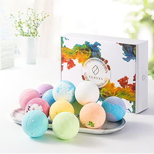 FERYES Bath Bombs Gift Set, 12 fragancias, baño de burbujas rico en natural orgánico, bomba de baño hecha a mano, la mejor idea de regalo para mujeres, niños