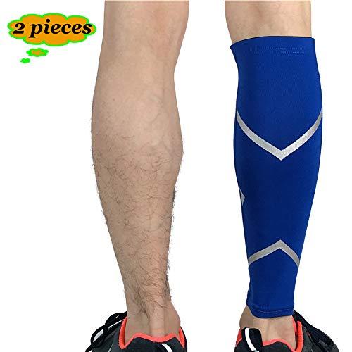 TZTED Kompressionsstrümpfe Deine Wadenbandagen für Marathon, Triathlon, Trailrunning Wadenbandage Laufstulpen gegen Beinschmerzen, Krämpfe, ohne Fußteil,Blau,XL