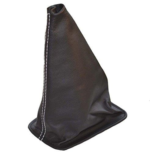 Schaltsack Schaltmanschette schwarz Leder weiß Nähten