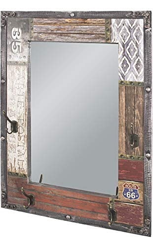 Haku Möbel Wandgarderobe - MDF in Vintageoptik 4 Haken und Spiegel Höhe 75 cm