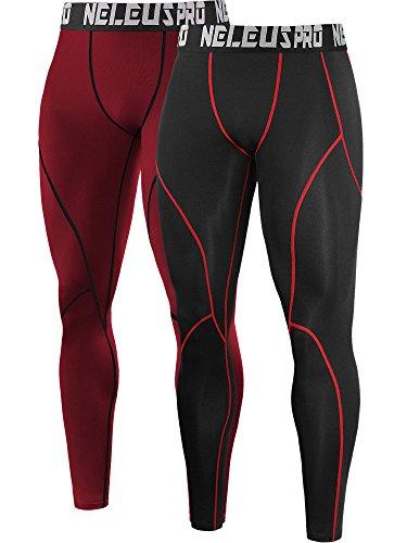 Neleus Men's 2 Pack Compression Pants Workout Running Tights Leggings,6013,Black (Red Stripe),Red,US M,EU L