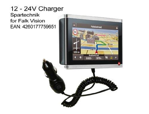 Autolader Falk Vision: 12V KfZ Ladekabel für Falk GPS Navigation Vision 500 600 700 F10 S400 S450 R300 R350 IBEX 30 Deutschland Österreich Schweiz - 90° abgewinkelter Spezialstecker, 12V - 24 Volt