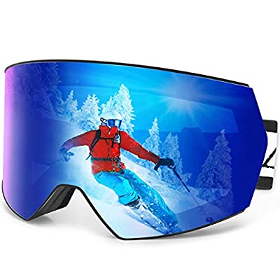 Zacro Ski Snowboard Goggles Anti Fog - Interchangeable Lens Over Glasses Snow Skiing Goggles for Men Women Youth