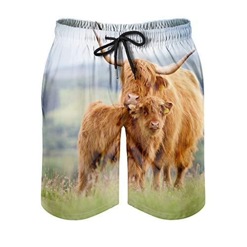 Dessionop Bañador para hombre con diseño de animales de granja y madre e niño, ropa de playa con forro elástico, cintura blanca, 5XL