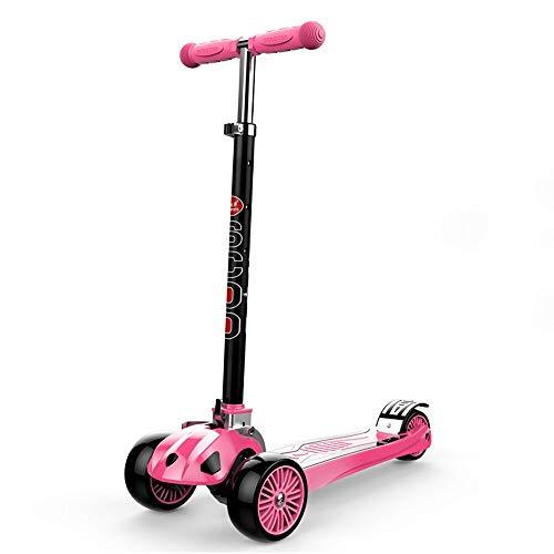 Lihgfw Kinderroller, Baby-einzelnes Scooter, faltbar Vier Gänge, kann eingestellt Werden, Super Wheel 3,4,5,6,7,8,9 Jahre alt rot/blau (Color : Rosa)