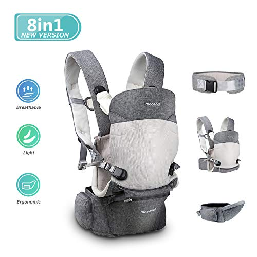 MADENAL 3 Function 360º Ergonomic Baby Carrier with Hip Seat for 0 – 36 Months Baby, [8 Positions for All Seasons], [Adjustable and Breathable Waistband for The Carrier Normal to Oversize] – Gray