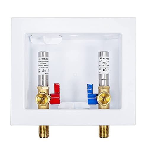 sicoince Washing Machine Outlet Box With Water Hammer Arrestor And 1/4-Turn Ball Valves,Input 1/2 Inch Male Thread And Output 3/4 Inch Male Thread 611-11
