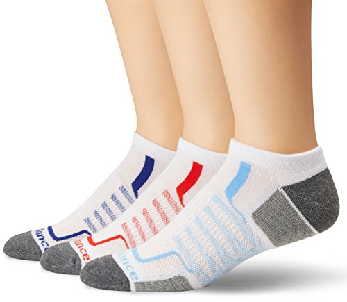 New Balance Herren Performance No Show Socken, 3 Paar, Herren, Socken, Performance No Show Socks-3 Pairs, Weiß/Grau/Rot/Blau, Large