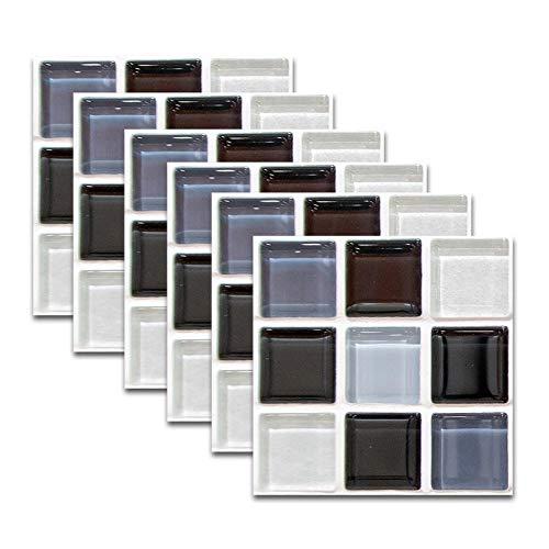 QAZN 30 PCS 8x8in / 20x20cm Adhesivo Autoadhesivo para Azulejos para Cocina Baño Splashback Papel de Contacto Pelar y Pegar Adhesivo Decorativo para Azulejos de Pared-Mosaico Blanco Negro