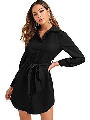 DIDK Damen Hemdkleid Elegant Blusenkleid V-Ausschnitt Langarm Herbst Tunika Kleider mit Gürtel Einfarbig Freizeitkleid Knöpfen Hemdenkleid Shortkleid Schwarz S
