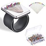 Pinza magnética para coser con 100 pines de colores (38 mm), soporte para cojinetes de pelo, correa de muñeca de silicona (pulsera negra)