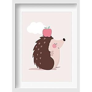 """Bilder Kinderzimmer Poster""""Isa Igel"""" – hochwertiger Druck auf Qualitäts-Papier, pastellfarben (ungerahmt) …"""