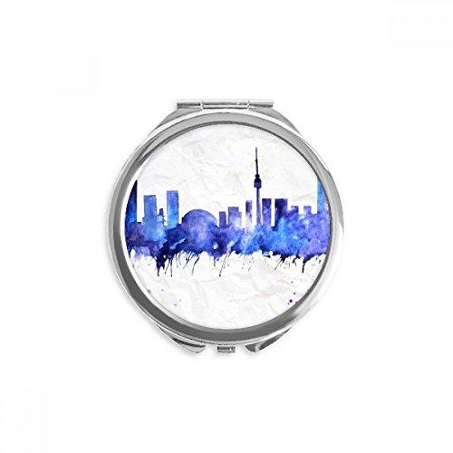 DIYthinker canada haut-lieu touristique ville aquarelle bleu miroir rond maquillage de poche à la main portable 2,6 pouces x 2,4 pouces x 0,3 pouce Multicolore