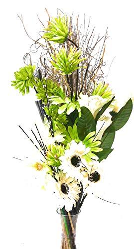 Link Products - Mazzo di fiori misti, secchi e artificiali, altezza 85cm, pronto da inserire in un vaso, realizzato nel Regno Unito Lime green large