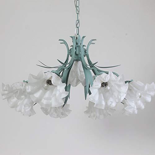 zlw-shop Lámpara Colgante Lámpara del Dormitorio de la lámpara de la lámpara de la Sala Comedor Habitación rústica Estilo Fresco de la Hierba Verde lámpara de Hierro Lámpara de Techo