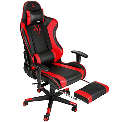 Femor Gaming Chair Office Chair with Footrest Ergonomic Adjustable Leather Computer Desk Chair Racing Swivel PC Computer Gaming Chair High Back Video Game Chair with Headrest and Lumbar Support (Red)