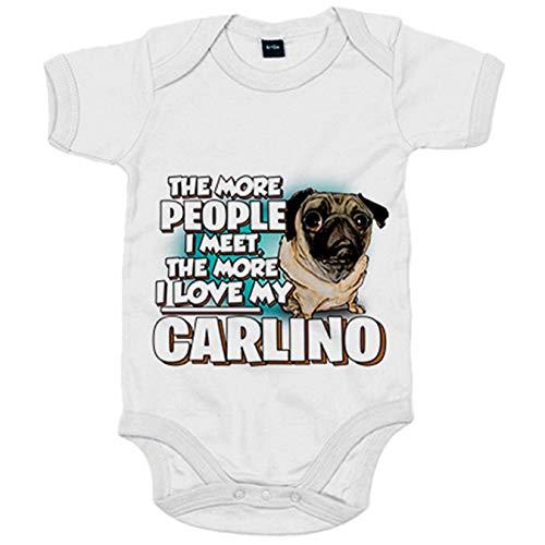 Body bebé I love my Carlino raza perro - Blanco, Talla única 12 meses