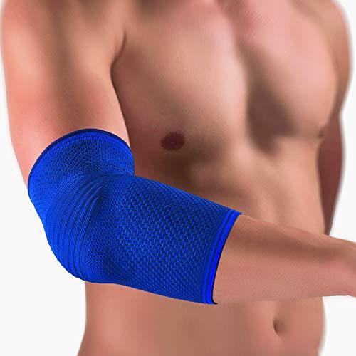 bort 055100 small blau KubiTal Ellenbogen-Polster-Bandage in unterschiedlichen Farben und Größen, rechts und links gleich, small, blau