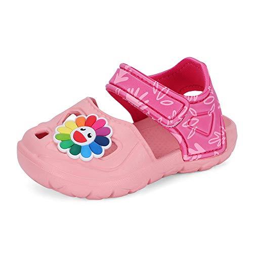 LACOFIA Baby Mädchen Sommer Sandalen Kleinkind rutschfeste Geschlossen Clog Leichte Strand Schuhe für Kinder Rosa 23/24