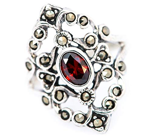 WINDALF Mittelalter Ring AZUARÎ h: 2.1 cm Roter Kristall Hochwertiges Silber (Silber, 54 (17.2))