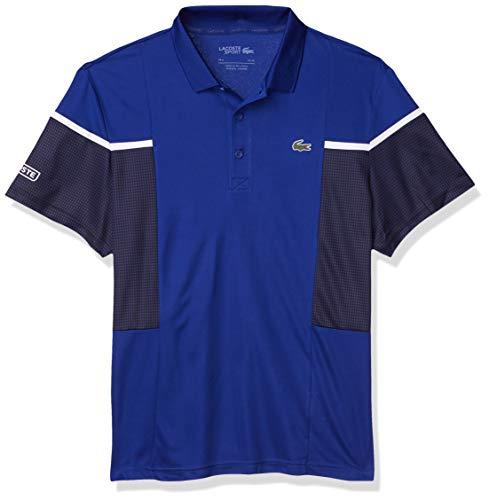 Lacoste Men's Sport Short Sleeve Mesh Ultra Dry Polo Shirt, Cosmic/Black-White-White, XL